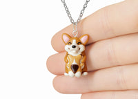 Handmade Mama Corgi and Baby Necklace, Mothers Day Gift