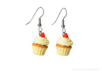 polinacreations hypoallergenic jewelry gift ideas handmade jewelry Vanilla Frosting Cupcake Earrings Topped with Strawberry, Vanilla Cupcake Earrings Fake Food Jewelry Polymer Clay food Jewelry yellow jewelry cute earrings gift for woman gift for her present for girl strawberry jewelry fruit earrings dessert jewelry vanilla jewelry unique jewelry desert jewellery berry earrings