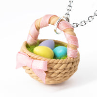 Polinacreations Handmade Easter Egg Basket Pendant. Easter Eggs jewelry Easter Jewelry polymer clay fake food jewelry miniature food rainbow jewelry polina creations