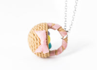 Polinacreations Handmade Easter Egg Basket Pendant. Easter Eggs jewelry Easter Jewelry polymer clay fake food jewelry miniature food rainbow jewelry polina creations pink jewelry