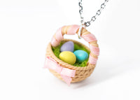 Polinacreations Handmade Easter Egg Basket Pendant. Easter Eggs jewelry Easter Jewelry polymer clay fake food jewelry miniature food rainbow jewelry polina creations gift for women