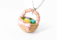 Polinacreations Handmade Easter Egg Basket Pendant. Easter Eggs jewelry Easter Jewelry polymer clay fake food jewelry miniature food rainbow jewelry polina creations gift for her