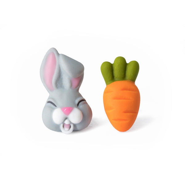 Handmade Bunny & Carrot Stud Earrings, Easter Gift