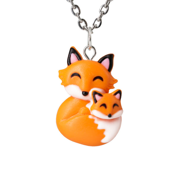 Handmade Mama Fox and Baby Necklace, Mothers Day Gift