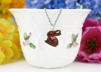 gift for her Polinacreations Handmade jewelry Easter Chocolate Bunny Pendant Bunny Necklace Easter Jewelry Chocolate Easter bunny pendant chocolate rabbit silver necklace Easter gift polymer clay fake food jewelry miniature food necklace holiday jewelry polina creations