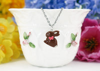 spring jewelry Polinacreations Handmade jewelry Easter Chocolate Bunny Pendant Bunny Necklace Easter Jewelry Chocolate Easter bunny pendant chocolate rabbit silver necklace Easter gift polymer clay fake food jewelry miniature food necklace polina creations