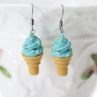 polinacreations Handmade Jewelry blue Ice Cream Sugar Cone Earrings Topped with Sprinkles. Ice cream Earrings, blue Earrings Fake Food Jewelry Kawaii miniature food jewelry mini food earrings green jewelry green earrings gift for her gift for woman girl rainbow jewelry sprinkle earrings polina creations jewellery blueberry ice cream bright jewelry summer jewelry summer earrings