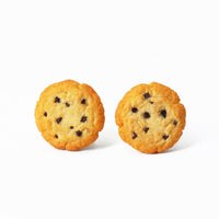Polinacreations Handmade Chocolate Chip Cookie Stud Earrings, Cookie Earrings Cute Earrings Fake Food Jewelry Chocolate Earrings Kawaii