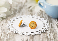 Handmade Chocolate Chip Cookie Stud Earrings, Cookie Earrings Cute Earrings Fake Food Jewelry Chocolate Earrings Kawaii polymer clay jewelry