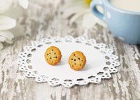 Polina creations Handmade Chocolate Chip Cookie Stud Earrings, Cookie Earrings Cute Earrings Fake Food Jewelry Chocolate Earrings polymer clay earrings