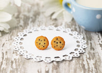 Handmade Chocolate Chip Cookie Stud Earrings, Cookie Earrings Cute Earrings Fake Food Jewelry Chocolate Earrings polymer clay earrings