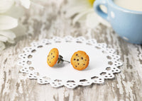 Polinacreations Handmade Chocolate Chip Cookie Stud Earrings, Cookie Earrings Cute Earrings Fake Food Jewelry Chocolate Earrings polinacreations