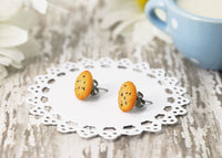 Polina creations Handmade Chocolate Chip Cookie Stud Earrings, Cookie Earrings Cute Earrings Fake Food Jewelry Chocolate Earrings Polinacreations