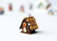 Handmade Chocolate Gingerbread House Necklace, Christmas Gift