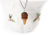 Polinacreations Handmade Chocolate Ice Cream Waffle Cone necklaces. Ice Cream Jewelry Ice Cream necklace Food earrings Cute earring Fun jewelry summer jewelry chocolate jewelry brown necklace brown jewelry pendant gift for her gift for woman fake food jewelry miniature food jewelry polymer clay jewelry ice cream charm waffle necklace waffle charm