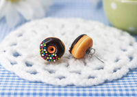 Handmade Jewelry Chocolate Glazed Doughnut Earrings With Sprinkles, Donut Earrings PolinaCreations Fake Food Jewelry Polymer clay Food Earrings mini food jewelry miniature food cute studs small earrings circle earrings sprinkle jewelry rainbow jewelry hypoallergenic jewelry polina creations jewellery gift for her gift for woman girls baskin robbins dunkin donut