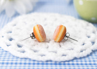 PolinaCreations Handmade Doughnut Stud Earrings Topped with Sugar Donut Stud Earrings Doughnut Earrings Donut earrings Fake food jewelry polymer clay jewelry circle earrings cute earrings polina creations miniature food jewelry mini food earrings