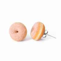 Handmade Doughnut Stud Earrings Topped with Fake Sugar, Donut Earrings