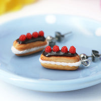 PolinaCreations Handmade jewelry Stuffed Eclair Stud Earrings with Whipped Cream & Topped With Chocolate and Raspberries Eclair earrings polina creations raspberry earrings raspberry jewelry red jewelry red earrings fake food jewelry miniature food jewelry mini food earrings cute earrings cute jewelry dessert jewelry hypoallergenic earrings chocolate jewelry chocolate earrings fruit jewelry fruit earrings berry earrings berry jewelry gift for her gift for girl woman chocolate eclair earrings