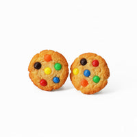 Polinacreations Handmade M&M Cookie Stud Earrings, Rainbow earrings Candy earrings Chocolate Chip Cookie Earrings Fun Cute Earrings Kawaii Fake Food Jewelry Miniature Food M and M jewelry polina creations