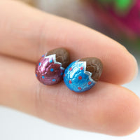 PolinaCreations Handmade Metallic Blue & Red Color Easter Chocolate Egg Stud Earrings. Chocolate Egg earrings Easter earrings Easter egg earrings Polina creations small cute earrings fake food jewelry polymer clay jewelry asymmetrical earrings