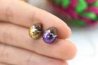 Handmade Gold & Purple Easter Chocolate Egg Stud Earrings