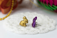 polinacreations Handmade Metallic Gold & Purple Color Easter Bunny Stud Earrings. Bunny earrings. Easter earrings. Easter bunny earrings Gold earrings asymmetrical cute earrings holiday Easter jewelry small animal studs