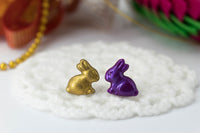 polinacreations Handmade Metallic Gold & Purple Color Easter Bunny Stud Earrings. Bunny earrings. Easter earrings. Easter bunny earrings Gold earrings asymmetrical cute earrings holiday Easter jewelry polina creations