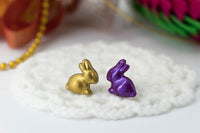 polinacreations Handmade Metallic Gold & Purple Color Easter Bunny Stud Earrings. Bunny earrings. Easter earrings. Easter bunny earrings Gold earrings asymmetrical cute earrings holiday Easter jewelry