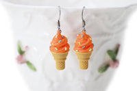Handmade Orange Ice Cream Sugar Cone Earrings