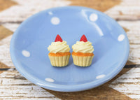 Polinacreations Handmade Vanilla Frosting Cupcake Stud Earrings Topped with Strawberry Vanilla Cupcake Earrings Cupcake Stud Earrings miniature food jewelry fake food jewelry polina creations strawberry earrings cute studs