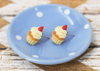 Polinacreations Handmade Vanilla Frosting Cupcake Stud Earrings Topped with Strawberry Vanilla Cupcake Earrings Cupcake Stud Earrings miniature food jewelry fake food jewelry polina creations strawberry earrings