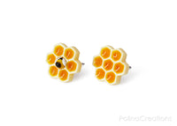 Polinacreations Honeycomb Stud Earrings, Honey Bee Earrings Bee Jewelry Bumble Bee Earrings Bee Keeper Gift  Save the Bees Geometric Earrings Honey Charm wasp earrings mini jewelry cute earrings