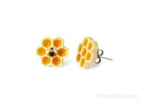 Polinacreations Honeycomb Stud Earrings, polymer clay jewelry Honey Bee Earrings Bee Jewelry Bumble Bee Earrings Bee Keeper Gift  Save the Bees Geometric Earrings Honey Charm polina creations wasp earrings