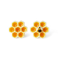 Polinacreations Honeycomb Stud Earrings, Yellow circle earrings cute earrings Honey Bee Earrings Bee Jewelry Bumble Bee Earrings Bee Keeper Gift  Save the Bees Geometric Earrings Honey Charm