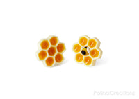 Polinacreations Honeycomb Stud Earrings, Honey Bee Earrings Bee Jewelry Bumble Bee Earrings Bee Keeper Gift  Save the Bees Geometric Earrings Honey Charm polymer clay miniature food jewelry