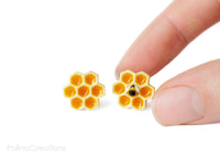 Polinacreations Honeycomb Stud Earrings, Honey Bee Earrings Bee Jewelry Bumble Bee Earrings Bee Keeper Gift  Save the Bees Geometric Earrings Honey Charm orange jewelry yellow earrings