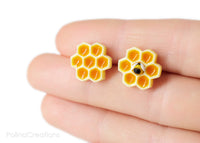 Polinacreations Honeycomb Stud Earrings, Honey Bee Earrings Bee Jewelry Bumble Bee Earrings Bee Keeper Gift  Save the Bees Geometric Earrings Honey Charm mini food earrings