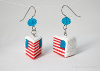 Handmade American Flag Cake Earrings, 4th of July Gift