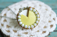Polinacreations Handmade Jewelry key lime Pie Pendant key lime Pie Necklace,Miniature Food Jewelry lime Jewelry lime Necklace yellow charm yellow jewelry yellow necklace Fake food jewelry mini food charm pie charm circle necklace green circle charm pastry jewelry pastry charm gift for her gift for woman bottle cap jewelry berry necklace berry charm fruit jewelry fruit necklace