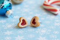 PolinaCreations Handmade Christmas Jam Linzer Heart Cookie Earrings, Jam Filled Cookie Earrings, Miniature Food Fake Food Jewelry Red Heart Earrings Cute earrings miniature food jewelry Xmas gift for her polymer clay jewelry