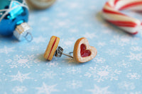 PolinaCreations Handmade Christmas Jam Linzer Heart Cookie Earrings, Jam Filled Cookie Earrings, Miniature Food Fake Food Jewelry Red Heart Earrings Cute earrings miniature food jewelry Xmas gift for her polymer clay jewelry dessert jewelry