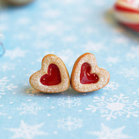 PolinaCreations Handmade Christmas Jam Linzer Heart Cookie Earrings, Jam Filled Cookie Earrings, Miniature Food Fake Food Jewelry Red Heart Earrings Cute earrings miniature food jewelry Xmas gift for her