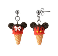 Handmade Mouse Ice Cream Stud Dangle Earrings