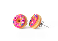 polinacreations Handmade Magenta Color Glazed Donut Stud Earrings, Doughnut Earrings Donut Stud Earrings Pink Donuts Pink Earrings polymer clay Fake Food Jewelry circle earrings pink jewelry pink earrings miniature food jewelry mini food earrings polina creations sprinkle earrings small earrings unique jewelry handmade jewelry magenta jewelry dessert jewelry handmade jewellery hypoallergenic jewelry cute studs