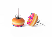 polinacreations Handmade Magenta Color Glazed Donut Stud Earrings, Doughnut Earrings Donut Stud Earrings Pink Donuts Pink Earrings polymer clay Fake Food Jewelry circle earrings pink jewelry pink earrings miniature food jewelry mini food earrings polina creations sprinkle earrings small earrings unique jewelry handmade jewelry magenta jewelry dessert jewelry handmade jewellery hypoallergenic jewelry cute studs gift for women