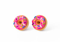 polinacreations Handmade Magenta Color Glazed Donut Stud Earrings, Doughnut Earrings Donut Stud Earrings Pink Donuts Pink Earrings polymer clay Fake Food Jewelry circle earrings pink jewelry pink earrings miniature food jewelry mini food earrings polina creations sprinkle earrings small earrings unique jewelry handmade jewelry magenta jewelry dessert jewelry handmade jewellery