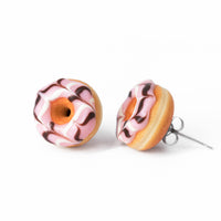 Handmade Jewelry pink Glazed Doughnut Earrings With Sprinkles, Donut Earrings PolinaCreations Fake Food Jewelry Polymer clay Food Earrings mini food jewelry miniature food cute studs small earrings circle earrings sprinkle jewelry rainbow jewelry hypoallergenic jewelry polina creations jewellery gift for her gift for woman girls baskin robbins dunkin donut