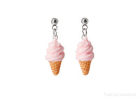 Handmade Soft Pink Ice Cream Dangle Stud Earrings
