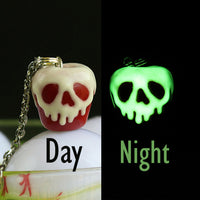 PolinaCreations Glow in the Dark Poison Red Apple Necklace, Halloween Necklace Spooky Jewelry Scary Skull Necklace Fake Food Jewelry Red Necklace Pendant fake food jewelry polymer clay jewelry red charm apple charm apple necklace glow jewelry gift for her gift for woman girls holiday jewelry halloween charm polina creations Disney jewelry snow white jewelry snow white necklace disney pendant disney charm fruit charm fruit necklace fruit pendant disney princess jewelry